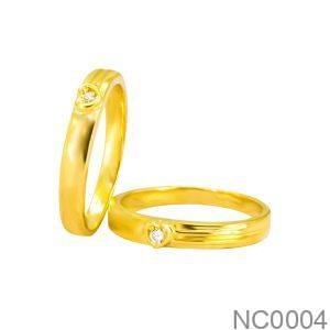 Nhẫn Cưới Vàng Vàng 18k Đính Đá CZ - NC0004