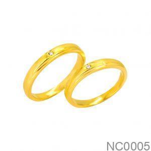 Nhẫn Cưới Vàng Vàng 18k Đính Đá CZ - NC0005