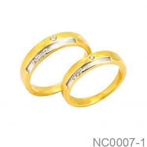 Nhẫn Cưới Hai Màu Vàng 14K Đính Đá CZ - NC0007-1