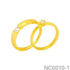 Nhẫn Cưới Vàng Vàng 18k Đính Đá CZ - NC0010-1