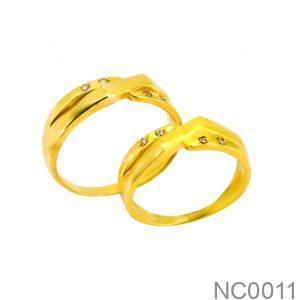 Nhẫn Cưới Vàng Vàng 18k Đính Đá CZ - NC0011
