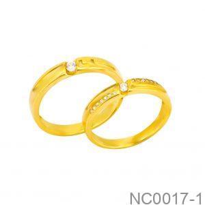 Nhẫn Cưới Vàng Vàng 18k Đính Đá CZ - NC0017-1