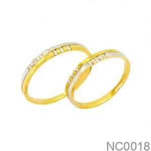 Nhẫn Cưới Hai Màu Vàng 18k Đính Đá CZ - NC0018
