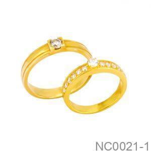 Nhẫn Cưới Vàng Vàng 18k Đính Đá CZ - NC0021-1