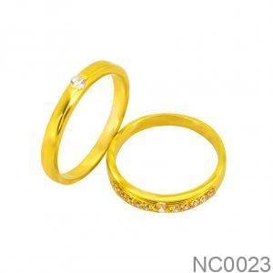 Nhẫn Cưới Vàng Vàng 18k Đính Đá CZ - NC0023