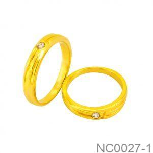 Nhẫn Cưới Vàng Vàng 18k Đính Đá CZ - NC0027-1