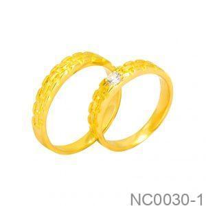 Nhẫn Cưới Vàng Vàng 18k Đính Đá CZ - NC0030-1