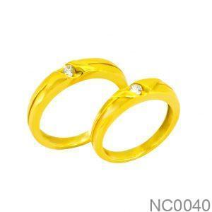 Nhẫn Cưới Vàng Vàng 18k Đính Đá CZ - NC0040