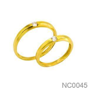 Nhẫn Cưới Vàng Vàng 18k Đính Đá CZ - NC0045