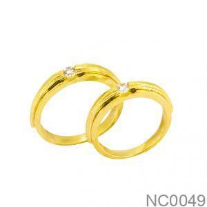 Nhẫn Cưới Vàng Vàng 18k Đính Đá CZ - NC0049