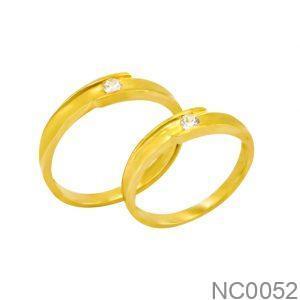 Nhẫn Cưới Vàng Vàng 18k Đính Đá CZ - NC0052