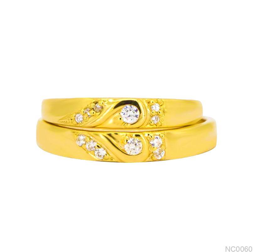 NC0060-1 nhẫn cưới đẹp vàng 18k đơn giản kiểu trái tim