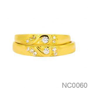 Nhẫn Cưới Vàng Vàng 18k Đính Đá CZ - NC0060