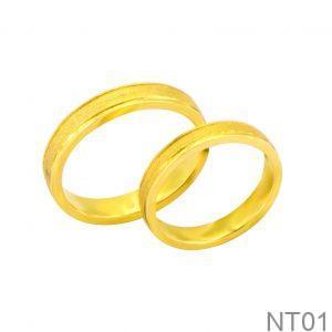 Nhẫn Cưới Vàng Vàng 18k Đính Đá CZ - NT01