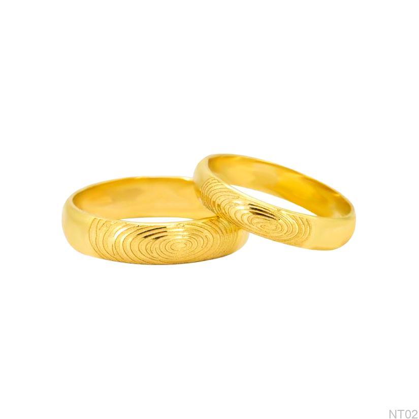 Nhẫn cưới vàng vàng APJ khắc vân tay NT02-1