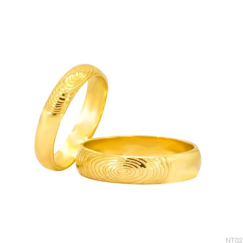 Nhẫn cưới vàng vàng APJ khắc vân tay NT02-2