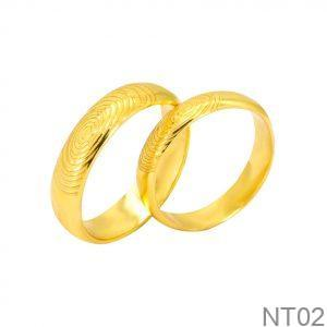 Nhẫn cưới vàng vàng APJ khắc vân tay NT02
