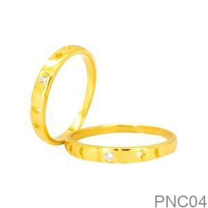 Nhẫn Cưới Vàng Vàng 18k Đính Đá CZ - PNC04