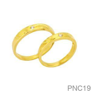 Nhẫn Cưới Vàng Vàng 18k Đính Đá CZ - PNC19