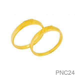Nhẫn Cưới Vàng Vàng 18k Đính Đá CZ - PNC24