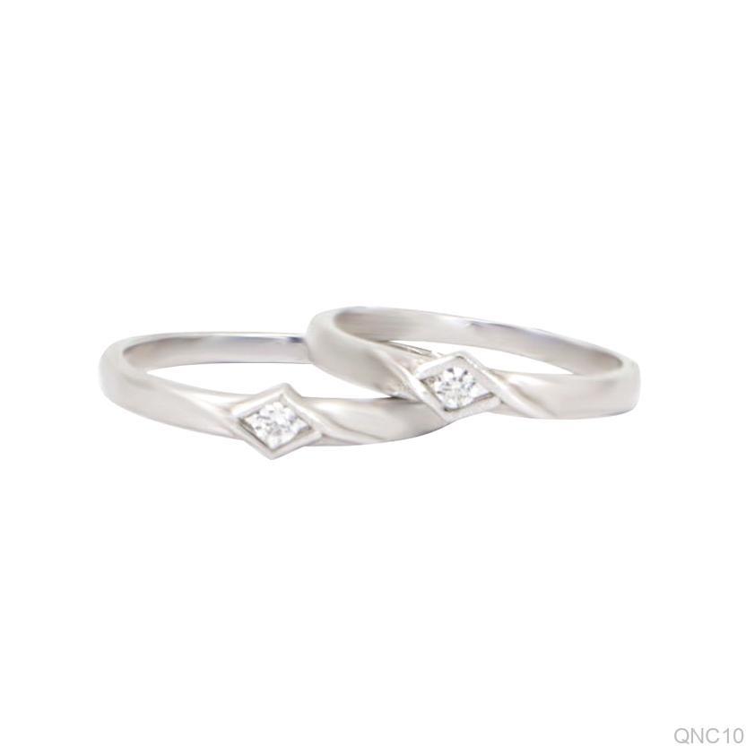 Nhẫn cưới vàng trắng QNC10-2