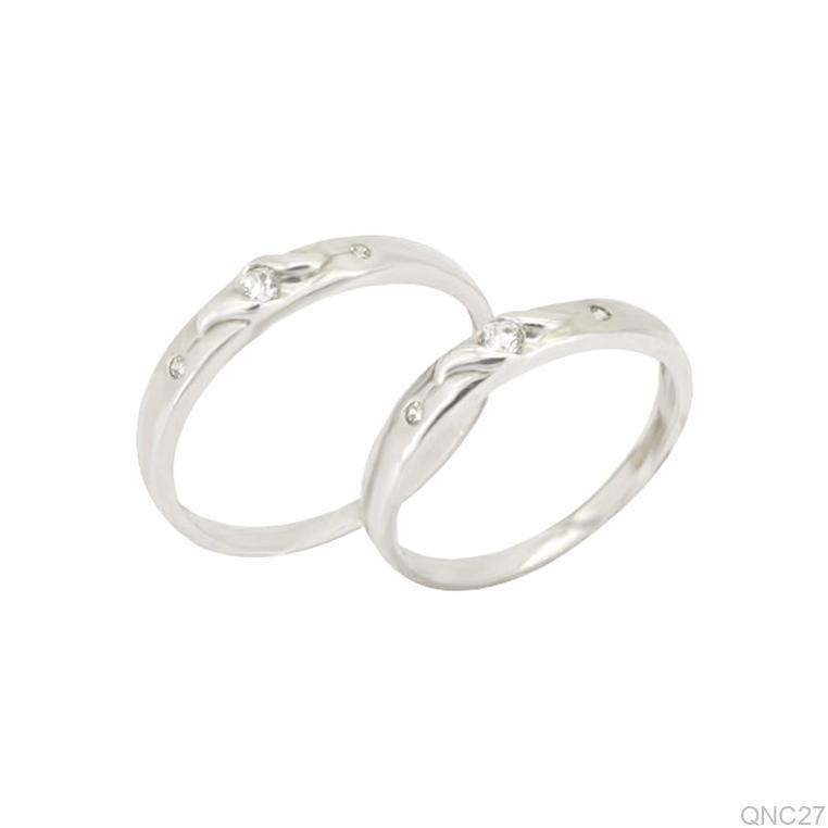 Nhẫn cưới vàng trắng QNC27