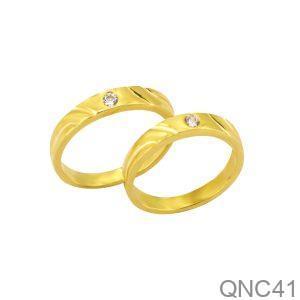 Nhẫn Cưới Vàng Vàng 18k Đính Đá CZ - QNC41