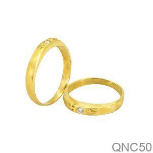 Nhẫn Cưới Vàng Vàng 18k Đính Đá CZ - QNC50