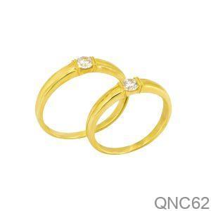 Nhẫn Cưới Vàng Vàng 18k Đính Đá CZ - QNC62