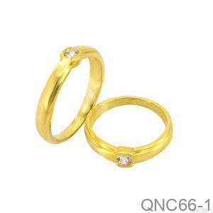Nhẫn Cưới Vàng Vàng 18k Đính Đá CZ - QNC66-1
