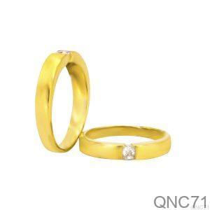 Nhẫn Cưới Vàng Vàng 18k Đính Đá CZ - QNC71