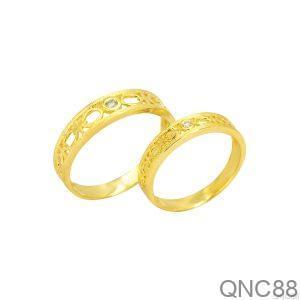 Nhẫn Cưới Vàng Vàng 18k Đính Đá CZ - QNC88