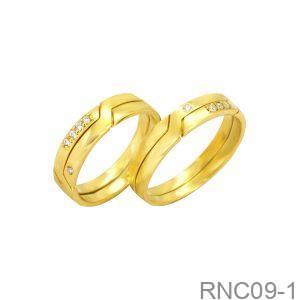 Nhẫn Cưới Vàng Vàng 10k Đính Đá CZ - RNC09-1