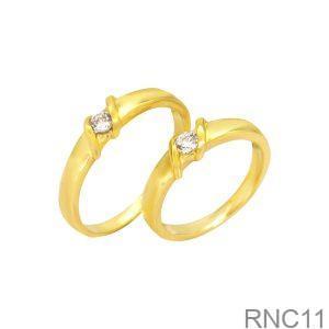 Nhẫn Cưới Vàng Vàng 18k Đính Đá CZ - RNC11