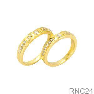 Nhẫn Cưới Vàng Vàng 18k Đính Đá CZ - RNC24