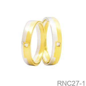 Nhẫn Cưới Hai Màu Vàng 18k Đính Đá CZ - RNC27-1