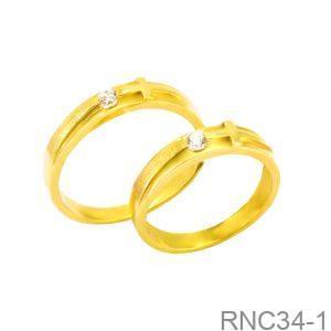 Nhẫn Cưới Vàng Vàng 18k Đính Đá CZ - RNC34-1