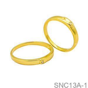 Nhẫn Cưới Vàng Vàng 18k Đính Đá CZ - SNC13A-1