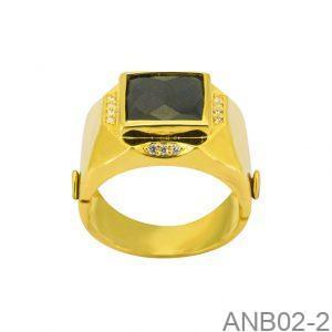 Nhẫn Nam Vàng Vàng 18K Đá Đen - ANB02-2