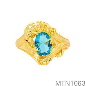 Nhẫn Nam Rồng Vàng Vàng 18k Đá Xanh Dương - MTN1063