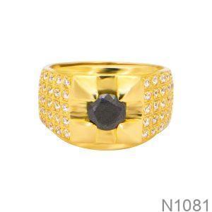 Nhẫn Nam Vàng Vàng 18k Đá Đen - N1081