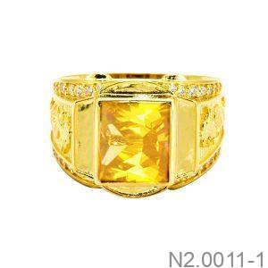 Nhẫn Nam Rồng Vàng Vàng 18K Đá Vàng - N2.0011-1