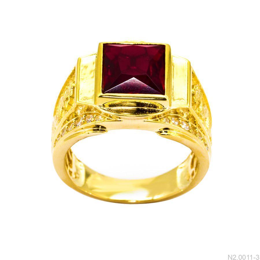 Nhẫn Nam Rồng Vàng Vàng 18K Đá Đỏ - N2.0011-3