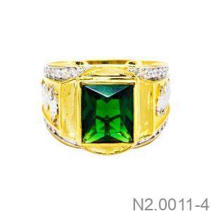 Nhẫn Nam Rồng Vàng Vàng 18K Đá Xanh Lục - N2.0011-4