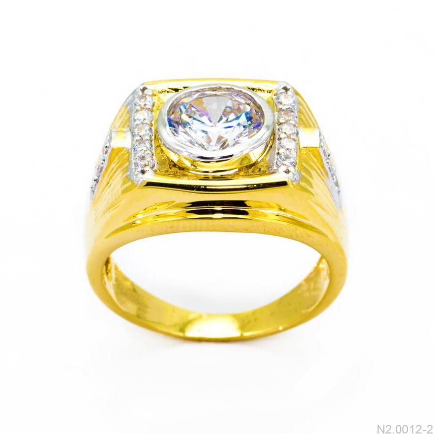 Nhẫn Nam Vàng Vàng 18K Đá Trắng - N2.0012-2