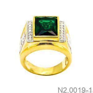 Nhẫn Nam Rồng Vàng Vàng 18K Đá Xanh Lục - N2.0019-1