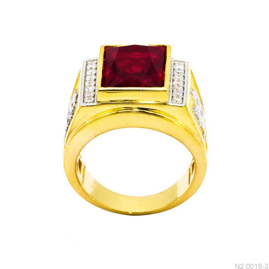 Nhẫn Nam Rồng Vàng Vàng 18K Đá Đỏ - N2.0019-3