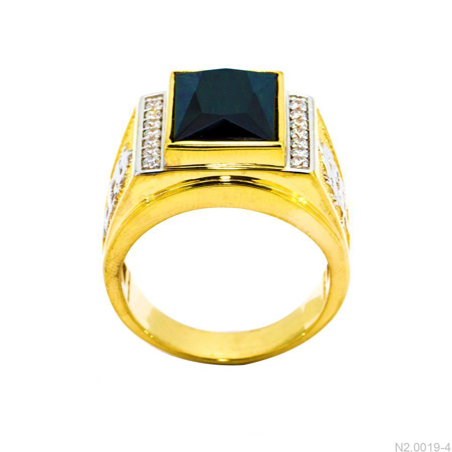 Nhẫn Nam Rồng Vàng Vàng 18K Đá Đen - N2.0019-4