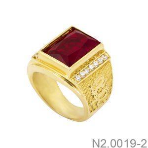 Nhẫn Nam Rồng Vàng Vàng 18K Đá Đỏ - N2.0019-2