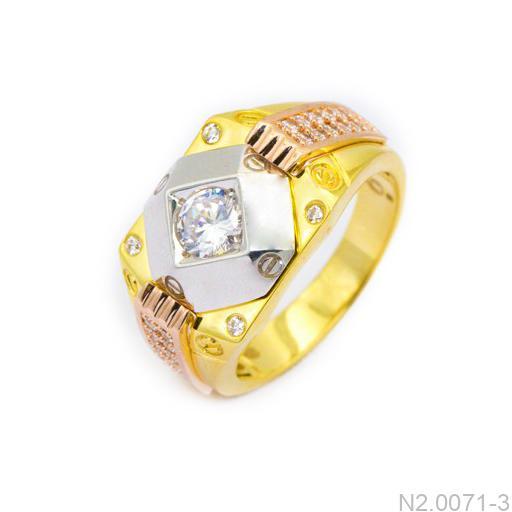 Nhẫn Nam Vàng Hai Màu 10k Đá Trắng - N2.0071-3